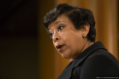 Loretta Lynch speaks at a press conference.