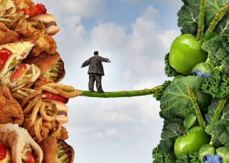 An illustration of an overweight man choosing between good food choices and poor ones.