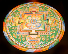 A photo of a yellow and green mandala.