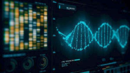 A computer generated image of a DNA strand under analysis.