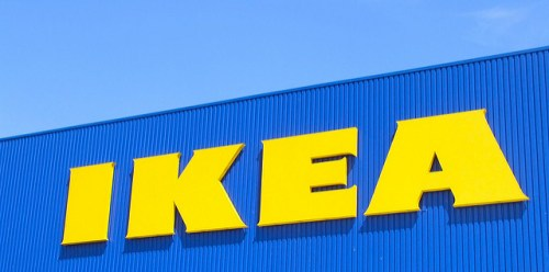 A photo taken from the outside of an Ikea building.