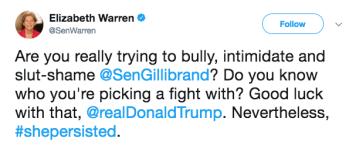 A screen shot of a tweet written by Elizabeth Warren.