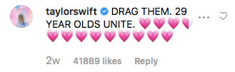 Taylor swift comments under Bebe Rexhas Instagram post showing support