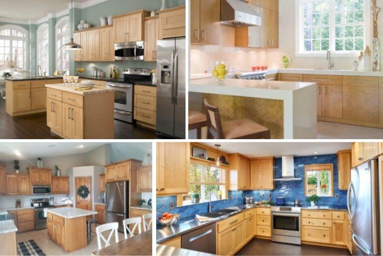 7 Kitchen Backsplash Ideas with Maple Cabinets That Do It ... on Backsplash For Maple Cabinets  id=91225