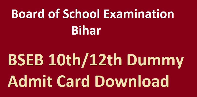 BSEB Dummy Admit Card download