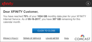 Comcast Xfinity Data Plan Usage Cap