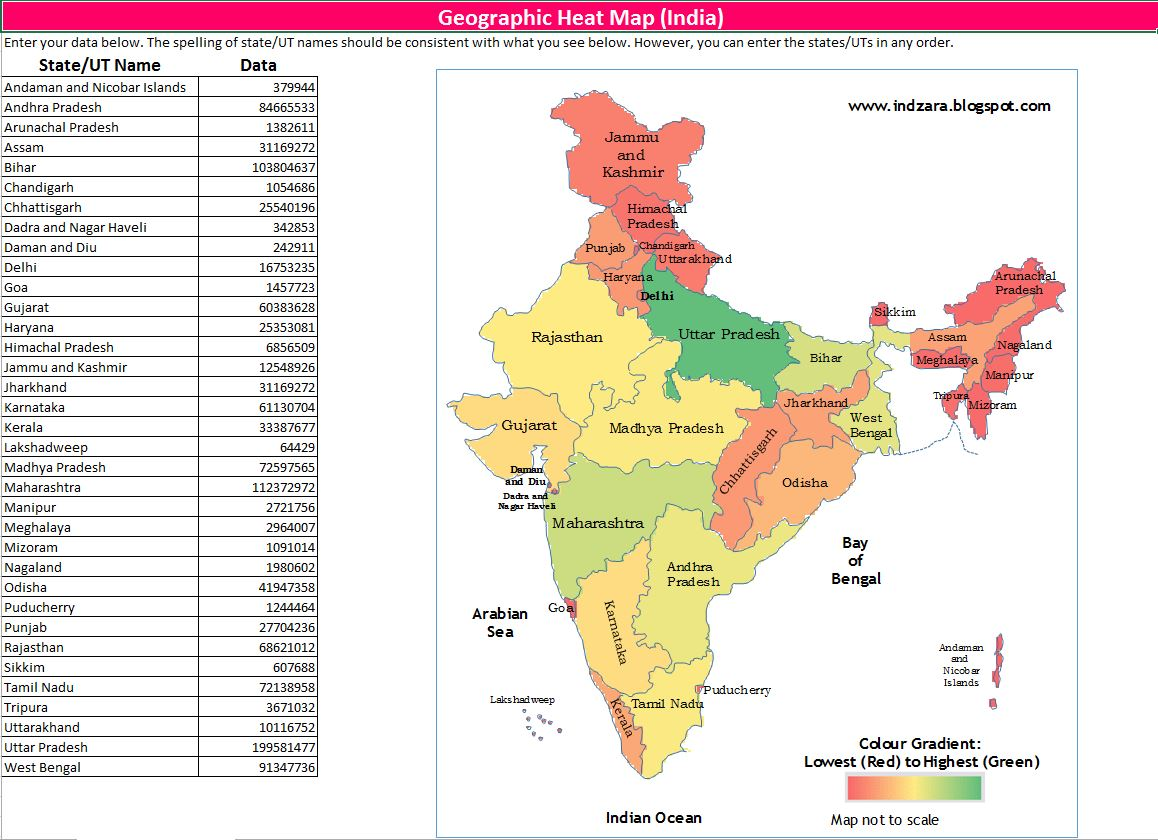 Geographic Heat Map India Excel Template