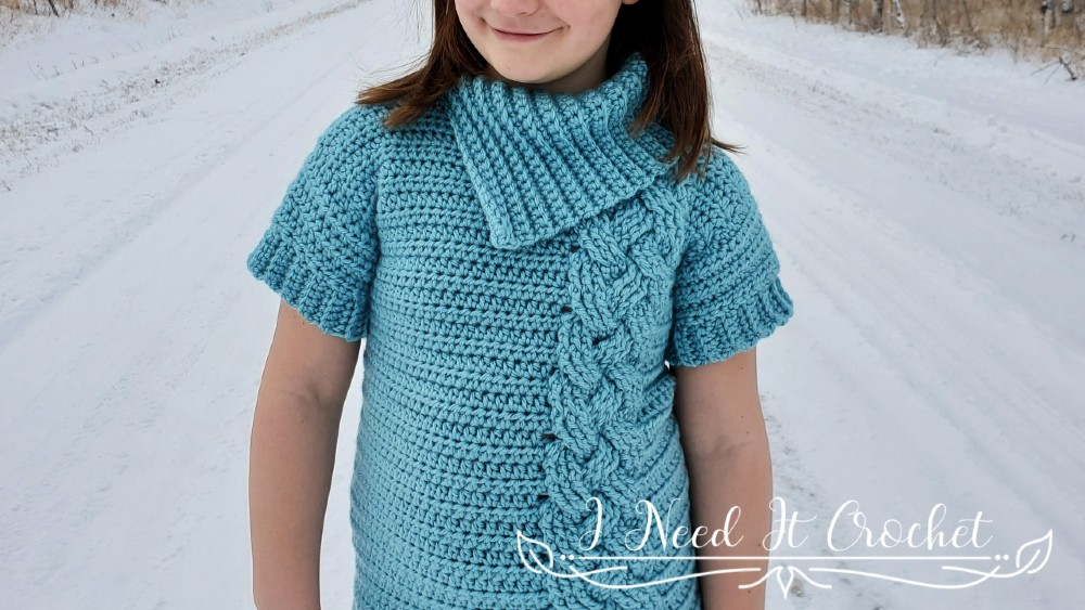 Kids Cozy Cabled Sweater Dress - Free Crochet Pattern