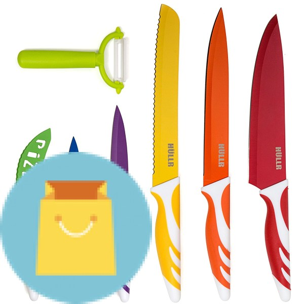 HULLR 7 Piece Kitchen Knife Set Stainless Steel Knives With Multi Colored Non-Stick Coating Includes Ceramic Peeler Gift Box