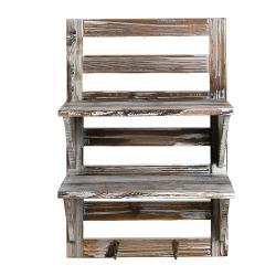 MyGift Rustic Wood Wall Mounted Organizer Shelves