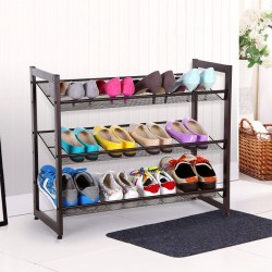 3-Tier Stackable Metal Shoe Rack Flat & Slant Adjustable Shoe Organizer Shelf <p> STACKABLE SHOE STORAGE RACK: Each two racks can be effortlessly stacked a 6-level one to well sort out your shoes Flexible, EITHER SLANT OR FLAT: The capacity rack can be introduced either level or calculated as you prefer to meet your distinctive needs. 3-TIER SHOE ORGANIZER SHELF: Holds up to 12 sets of ladies' shoes, or 9 sets of men's shoes; in typical size. Thick METAL MESH SHELF: Well shield children's little shoes and foot sole areas from sinking and dropping. Substantial DUTY and EASY TO ASSEMBLE: Made of thick metal work racks and premium square tubes side edge (which is basic, when establishment you should simply to screw the racks to side casing), base agent feet accommodated better soundness. Clear direction and Allen key included.