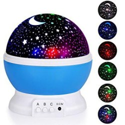 Alenbrathy Star Projector Romantic LED Night light On the off chance that your child fears dim, this star and moon projection light will be an ideal expansion to a kid's room. It has a delicate light so you can lay down with it on and it won't trouble you. The stars and moon night light can make distinctive shading blends and it has a choice to move around the room. The A catch kills on and the principle white light. The B catch turns on extra 3 hued lights blue, green, red. It will make 9 shading blends. An and B can both be on in the meantime or you can do one without the other. The C catch hands the lights over a hover all around the room. A reward factor for this light is you can instruct your child the hues. Each time you hit the B catch, the light can turn between green, blue, and red alone, at that point it goes to blue and red, blue and green, green and red, and afterward every one of the three hues on the double. What's more, since you can turn white on without anyone else's input, you can turn that on with any of alternate hues to change how brilliantly lit this is. It's truly wonderful to see!