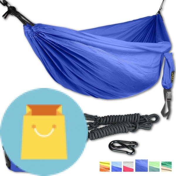 DoubleEagle Power Hammock Set  DoubleEagle Power Hammock Set (2 person) - Lightweight Parachute Nylon 210T Double Camping Hammocks for Hiking, Travel, Beach, Yard, Gift - Including Carabiners & Ropes. PREMIUM QUALITY