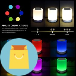 Elecstars Touch Bedside Lamp - with Bluetooth Speaker Elecstars Touch Bedside Lamp - with Bluetooth Speaker, Dimmable Color Night Light, Outdoor Table Lamp with Smart Touch Control, Best Gift for Men Women Teens Kids Children Sleeping Aid