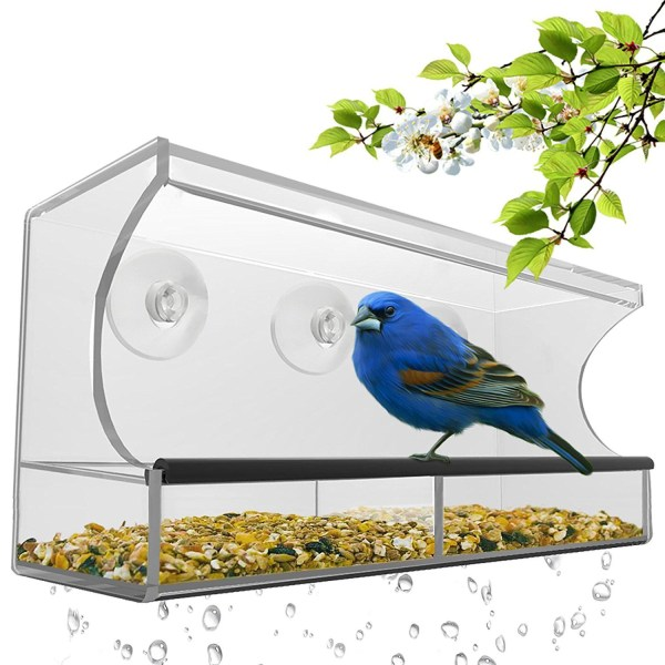 Nature's Hangout Window Bird Feeder with Removable Tray