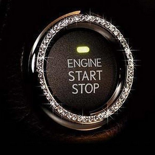 Bling Car Decor Crystal Rhinestone Bling Car Decor Crystal Rhinestone Car Bling Ring Emblem Sticker, Bling Car Accessories For Auto Start Engine Ignition Button Key & Knobs, Bling For Car Interior, Unique Gift For Women.