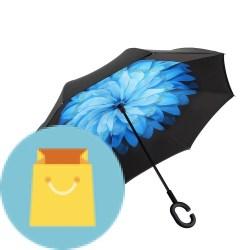 Double Layer Windproof Reverse Umbrella Amagoing Car Inverted Umbrella Double Layer Windproof Reverse Umbrella for Rain Sun.