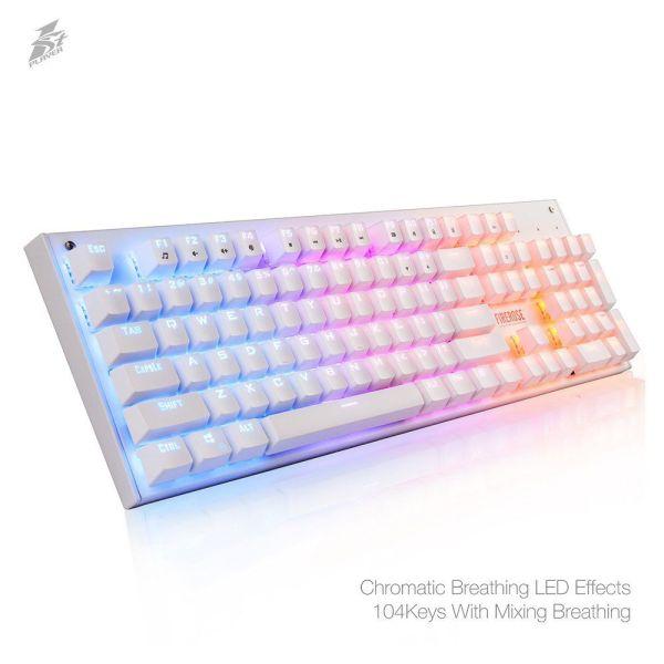 Ergonomic Waterproof Chroma LED Gaming Keyboard 1STPLAYER Firerose Ergonomic Waterproof Chroma LED Illuminated Mechanical Gaming Keyboard.