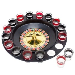 Roulette Drinking Game with 16 Black and Red Shot Glasses