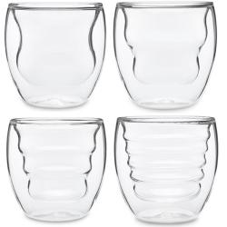 Artisan Series Double Wall Beverage Glasses and Tumblers Artisan Series Double Wall Beverage Glasses and Tumblers - Unique 8 oz Thermo Insulated Drinking Glasses, Set of 4.