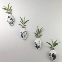 Grow Plants in Oriental Ceramics Vase Refrigerator Magnets
