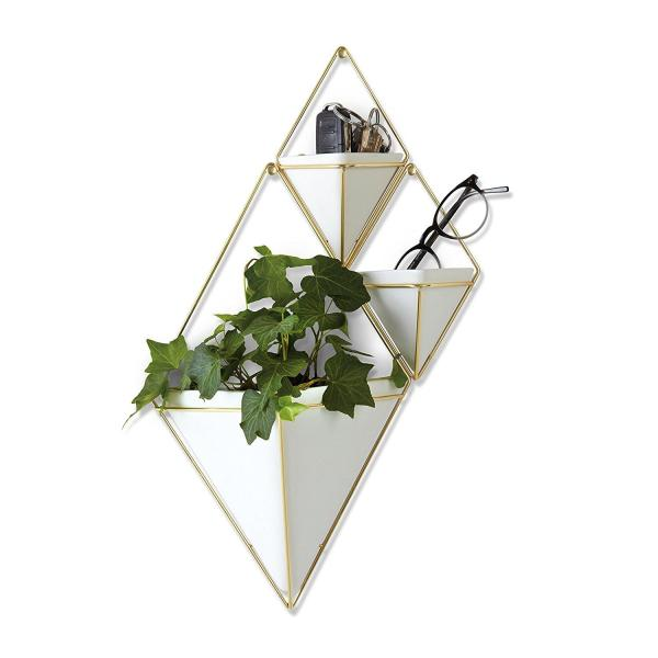 Umbra Trigg Hanging Planter Vase Umbra Trigg Hanging Planter Vase & Geometric Wall Decor Container - Great For Succulent Plants, Air Plant, Mini Cactus, Faux Plants and More, White Ceramic/Brass.