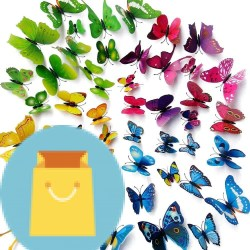 Wall Stickers Crafts Butterflies with Sponge Gum and Pins(48PCS)