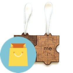 You & Me Puzzle Piece Laser Cut Wood Ornament