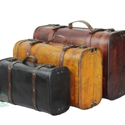 3-Colored Vintage Style Luggage Suitcase Set of 3