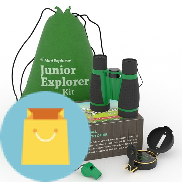 6-in-1 Outdoor Exploration Kit for Young Kids 6-in-1 Outdoor Exploration Kit for Young Kids: Binoculars, Magnifying Glass, Whistle, Hand-Crank Flashlight, Lensatic Compass + Backpack | Great Educational Gift Set for Camping, Hiking, Bird Watching.