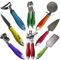 8 Pieces Kitchen Gadget Tools Set 8 Pieces Kitchen Gadget Tools Set by Chefcoo™ - Stainless-Steel Utensils Chef Cooking Set - Peeler, Knife, Pie Server, Can Opener, Pizza Cutter, Grater, Knife Sharpener & Garlic Press.