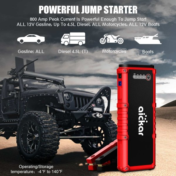 Battery Car Jump Starter Aickar 800A Peak 19800mAh Car Jump Starter (All Gas & 4.5L Diesel Engine) Portable Car Battery Jump Starter, Power Bank, Built-in LED Flashlight with Car Jumper Cables Heavy Duty.