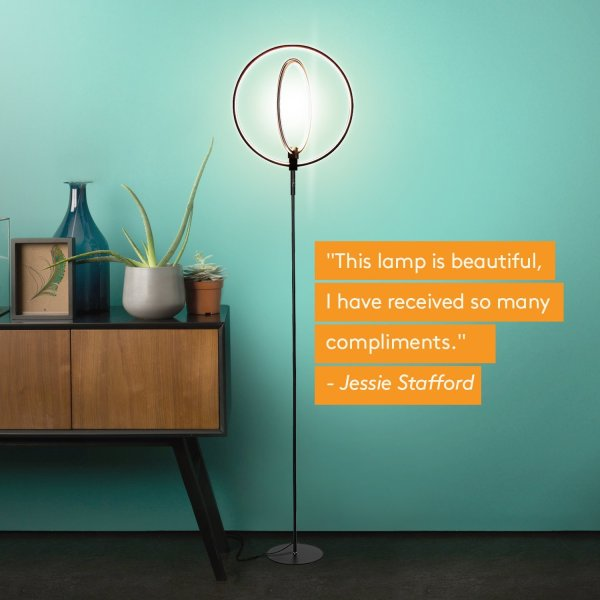 Brightech Eclipse LED Floor Lamp - Double Rings of Light
