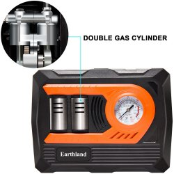 12v Portable Air Compressor Pump 150 Psi 12v Portable Air Compressor Pump 150 Psi, Double Cylinder Tire Inflator with Gauge and Led Light for Bicycles, Basketballs, Children Inflatable Toys.