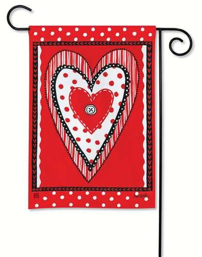 BreezeArt Button Heart Valentine Day Garden Flag