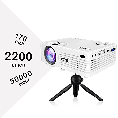 QKK 2200lumen Mini Projector - Full HD LED Video Projector 1080P