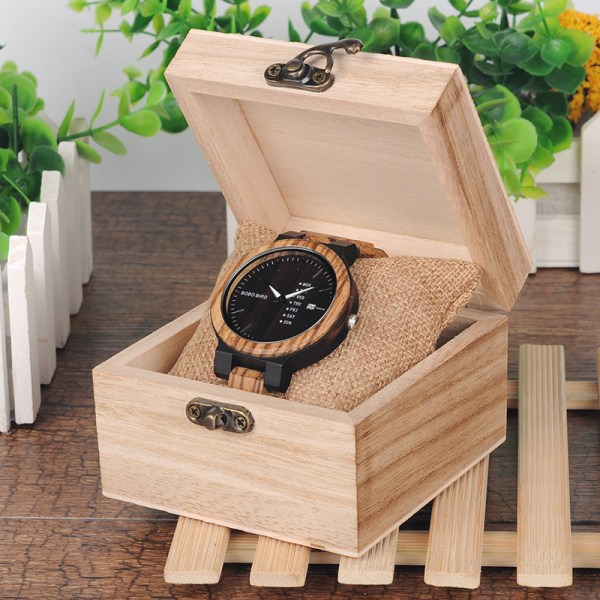 Zebra Wood Watch for Men with Week and Date