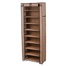 10-Tier Shoe Tower Rack with Cover 27-Pair Space Saving Shoe Storage Organizer Moch