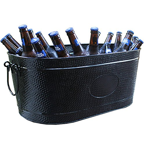 Heavy-Duty Black Galvanized Creighton Pebbled Beverage Tub