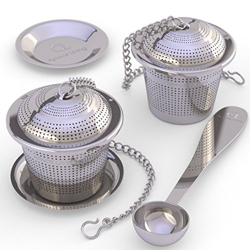 Apace Loose Leaf Tea Infuser (Set of 2) with Tea Scoop and Drip Tray