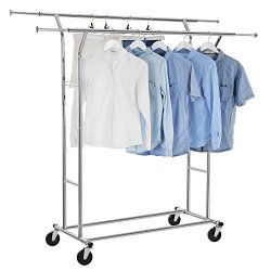 Double Rail Clothes Racks Commercial Grade Height Adjustable Heavy Duty clothing Garment Racks for Boutiques