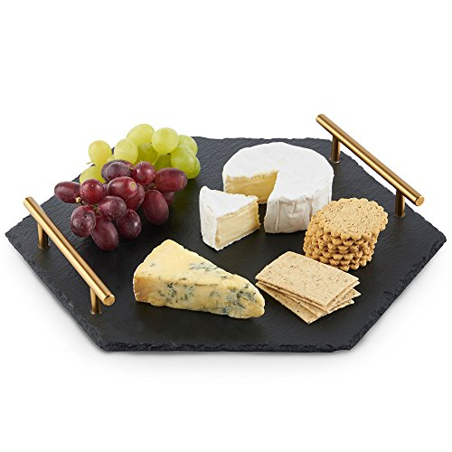 VonShef Natural Slate Cheese Tapas Serving Tray with Brushed Gold Handles