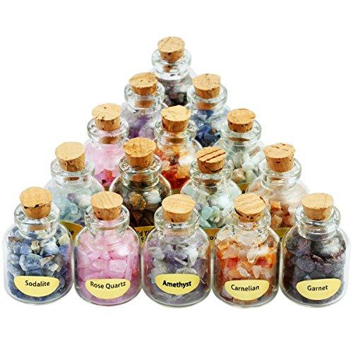 9 Mini Gemstone Bottles Chip Crystal Healing Tumbled Gem