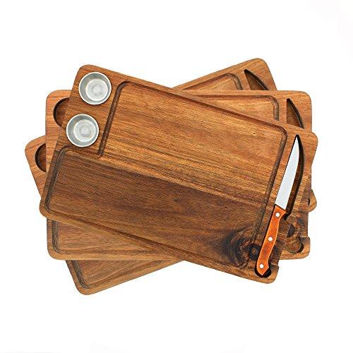 Premium Steak Cutting Board 100% Acacia Wood Gift Set with 3 Steak boards