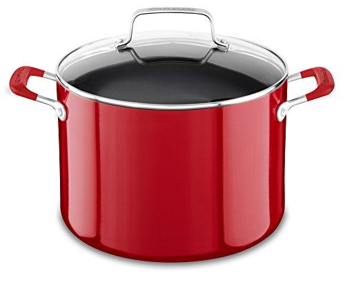 KitchenAid Aluminum Nonstick 8.0 quart Stockpot with Lid - Empire Red, Medium