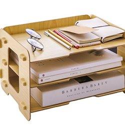 Hoomele 3 Layer Wood File Tray/ 3 Tier Desk Organizer/Desktop Letter Tray Organizer