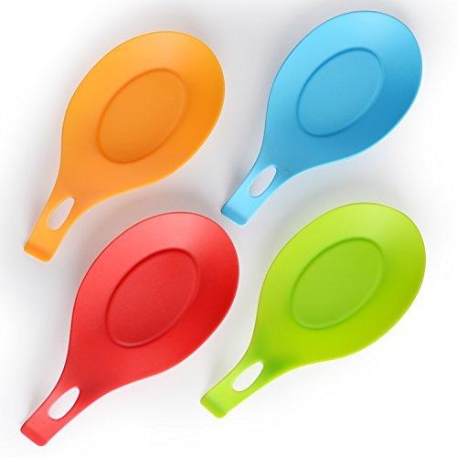 iNeibo Kitchen Silicone Spoon Rest, Set of 4