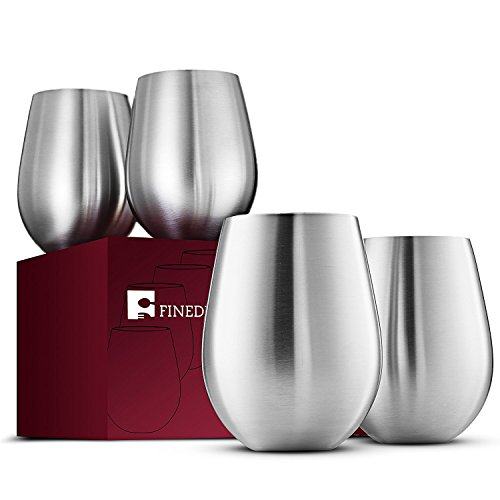 Stainless Steel Wine Glasses - Set of 4 Large & Elegant 18 Oz. Premium Grade