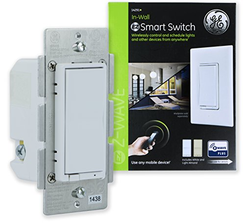 GE Z-Wave Plus Wireless Smart Lighting Control Smart Switch, On/Off, In-Wall, Includes White & Light Almond Paddles and Zwave Repeater Range Extender, Hub Required, 14291, Works with Alexa