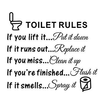 Toilet Rules Bathroom Removable Wall Sticker Viny